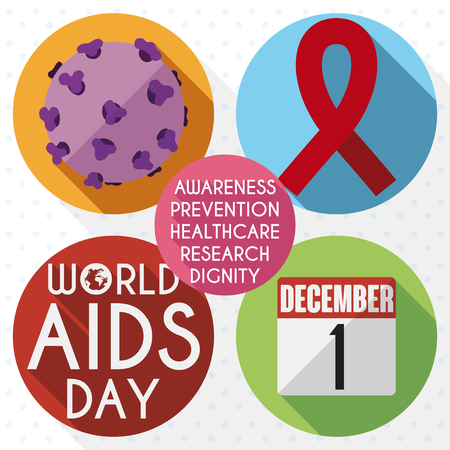 Buttons in flat style and long shadow with different elements to promote awareness in World AIDS Day: HIV virus, red ribbon, reminder calendar with date and some precepts.