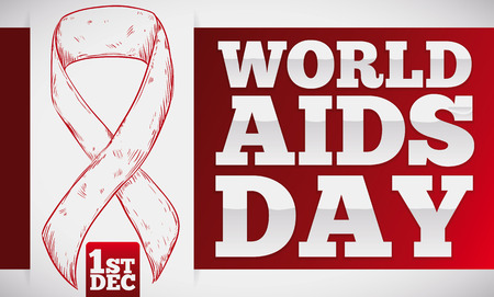 Banner with a hand drawn red ribbon over a sign with commemorative message for World AIDS Day in December 1.
