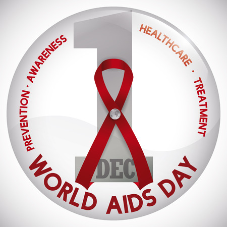 Commemorative round button with red ribbon and badge with tiny world map in middle of it, symbolizing the worldwide awareness about World AIDS Day in December 1.