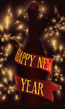 Poster with wine bottle silhouette and ribbon around it with fireworks display in the background celebrating New Year.