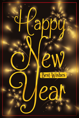 Poster with festive fireworks and lights for New Year Celebration greeting you for best wishes.