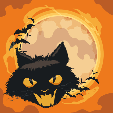 Spooky cat in classic halloween background with ghosts and bats flying around the moon. Illustration