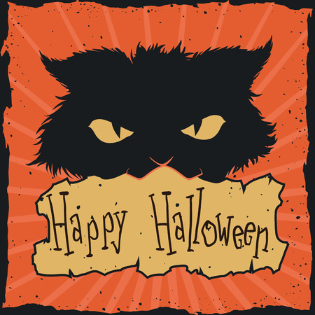 Mad cat Halloween retro poster isolated on orange background.