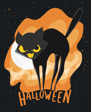 Cute frightened stylized cat poster on black and orange background with full moon.