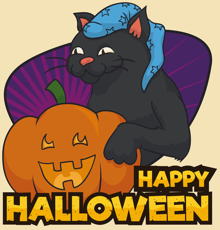 Poster with black cat wearing a long starry cap celebrating Halloween with a traditional Jack-O pumpkin. Ilustrace