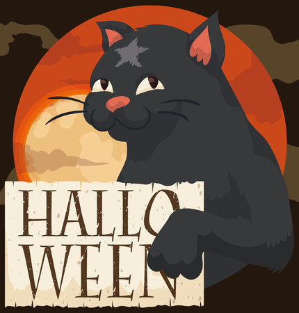 Black cat with a star-shaped in his forehead in a misty Halloween night holding a greeting sign and a full moon in the background.