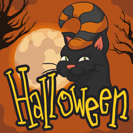 Poster with mischievous cat with hat and spooky forest with branch silhouettes in a full moon night of Halloween.