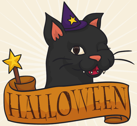 Poster with cute female cat winking at you with a little pointy hat and a magic wand wrapped in a greeting ribbon for Halloween celebration.