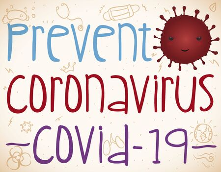 Preventive design for children with cute and mischievous coronavirus decorated with doodles promoting awareness of this virus worldwide.