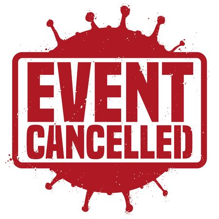 Red stamp with coronavirus silhouette representation, announcing the cancelation of events due COVID-19 outbreak.