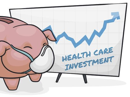 Cute piggy bank wearing a half mask showing a statistical graph in the rise of health care investments due COVID-19 pandemic.