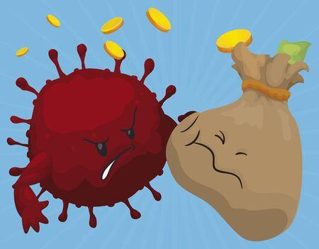 Evil coronavirus beating a defenseless money bag, taking away its money, symbolizing the COVID-19 economic crisis.