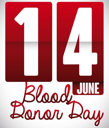 Flip clock with number fourteen to remind you the World Blood Donor Day celebration in June 14. Illustration