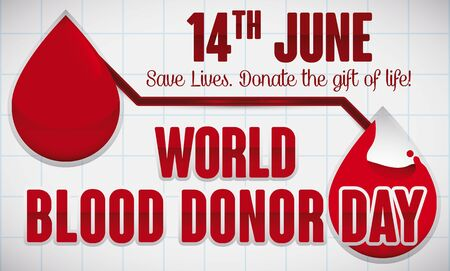Conceptual banner with reminder date and greeting message to celebrate World Blood Donor Day showing the importance and ease of blood donation.