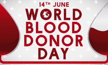 Banner for World Blood Donor Day with reminder date and conceptual design about blood transfusion.