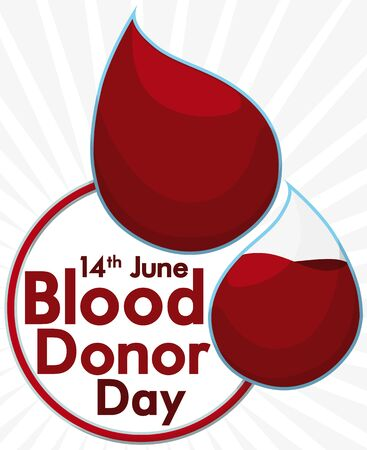 Promotional poster with reminder date and a pair of drops and transfusing tube to celebrate World Blood Donor Day.