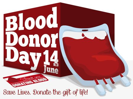 Poster with blood bag, red box and card, all elements to promote massive donation in World Blood Donor Day.