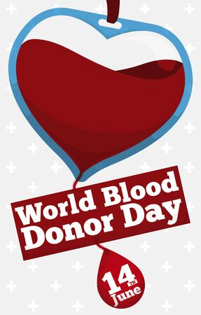 Commemorative design for World Blood Donor Day with blood bag like a heart decorated with a greeting sign and reminder date.