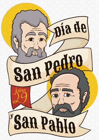 Commemorative poster to commemorate Saints Peter and Paul Feast Day (written in Spanish) with their faces behind a greeting ribbon. Illustration