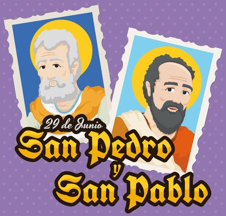 Poster with a pair of stamps with St. Peter and St. Paul (written in Spanish) portraits for the Solemnity event of those saints in June 29.