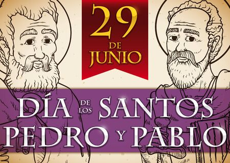 Promotional banner in Spanish, in hand drawn style with portraits of St. Peter and St. Paul and reminder date for Solemnity event in June 29.
