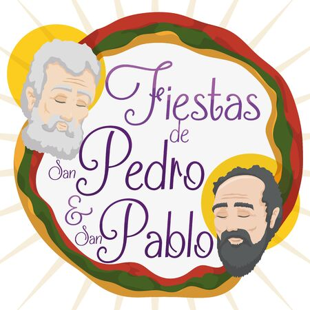 Promotional poster for Feast of Saints Peter and Paul (written in Spanish) in Colombia with the faces of them and Neiva's colors flag around it.