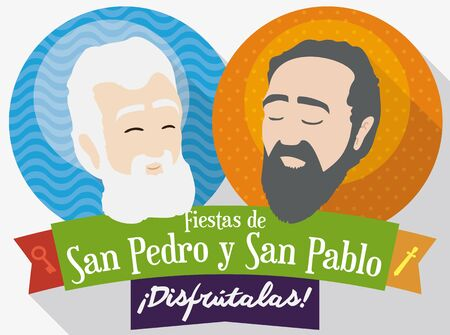 Flat design with round buttons with the image of St. Peter and St. Paul inviting to you to celebrate traditional feast days in Colombia (texts written in Spanish). Illustration