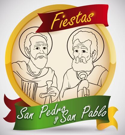 Promotional golden round button with St. Peter and St. Paul image to celebrate traditional feast days in Colombia (written in Spanish).