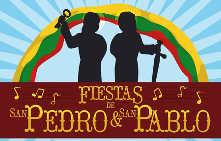Banner with Saints Peter and Paul silhouettes celebrating their Colombian Feast Days (written in Spanish) with Ibague's flag in the background and musical notes.