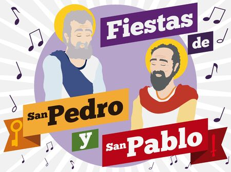 Poster with Saints Peter and Paul portraits in flat style with musical notes around them to commemorate Colombian celebrations in this holiday (texts written in Spanish).