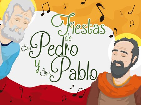 Promotional poster with St. Peter and St. Paul celebrating their feast days (written in Spanish) in Ibague, the Musical Capital of Colombia. Illustration