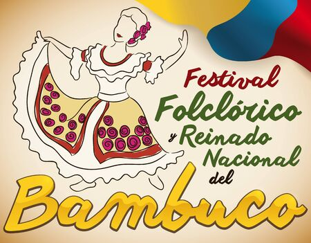 Poster with beautiful woman performing a traditional Colombian dance: Bambuco, next to a flag and golden text, to celebrate the Bambuco Pageant and Folkloric Festival (written in Spanish).