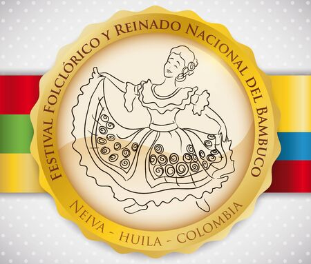 Golden round button with traditional Bambuco dance display performed by a beautiful woman at the Bambuco Pageant and Folkloric Festival (written in Spanish) with the flags of Neiva City and Colombia. Vetores