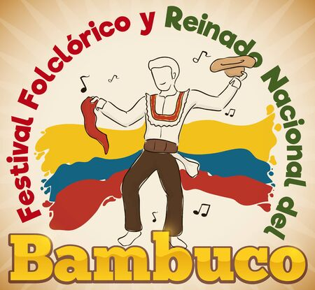 Poster with man and his hat and red kerchief celebrating Bambuco Pageant and Folkloric Festival (written in Spanish) in Colombia. Illustration