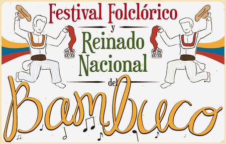 Poster with Colombian men performing the Bambuco dance with hats and kerchiefs in Bambuco Pageant and Folkloric Festival (written in Spanish). Illustration