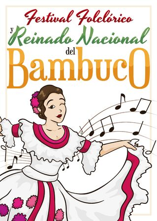 Poster with beautiful Colombian queen dancing at Bambuco Pageant and Folkloric Festival celebration (written in Spanish).