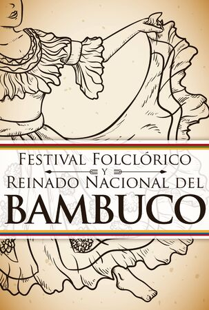 Promotional poster in hand drawn style for Bambuco Pageant and Folkloric Festival celebration (written in Spanish) with view of a beautiful woman dancing. Vetores