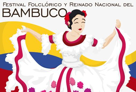 Poster with beautiful woman performing traditional dance in Bambuco Pageant and Folkloric Festival celebration (written in Spanish) over Colombian flag.