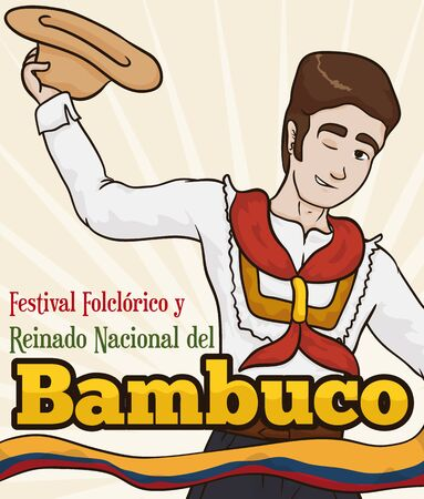 Poster with young man with traditional costume, hat and kerchief representing the Colombian tradition in the Bambuco Pageant and Folkloric Festival celebration (written in Spanish).