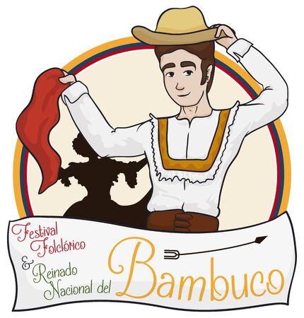 Poster with traditional Colombian man and woman silhouette, dancing in Bambuco Pageant and Folkloric Festival event (written in Spanish).