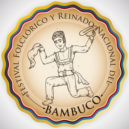 Promotional round label with Colombian flag colors and hand drawn illustration of traditional dancer for Bambuco Pageant and Folkloric Festival celebration (written in Spanish).