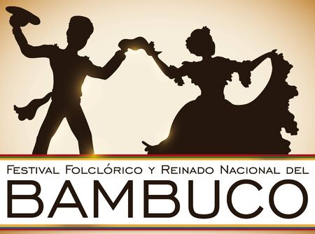 Poster with couple dancing at the sunset in traditional colombian Bambuco Pageant and Folkloric Festival celebration (written in Spanish). Illustration