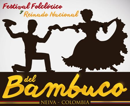 Poster for Bambuco Pageant and Folkloric Festival Celebration (written in Spanish), with couple silhouette performing the traditional Colombian Bambuco dance. Illustration