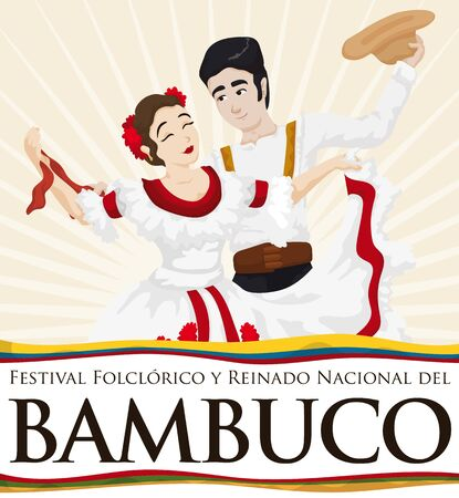 Poster with couple with traditional clothes performing bambuco dance in Bambuco Pageant and Folkloric Festival celebration (written in Spanish) with Colombia and Neiva City flags.