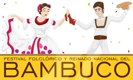 Banner with traditional dancers celebrating Bambuco Pageant and Folkloric Festival (written in Spanish) under a confetti shower, Colombian label and golden sign. Illustration
