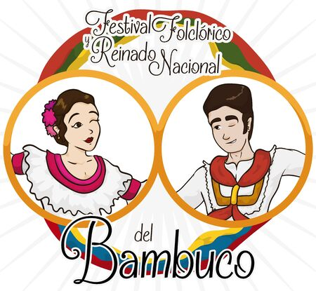 Poster with two round buttons with man and woman portraits of Bambuco dancers with flags of Colombia and Neiva city, celebrating Bambuco Pageant and Folkloric Festival (written in Spanish). Vetores