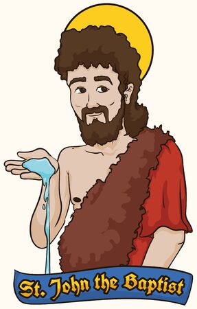 Poster with Saint John the Baptist wearing camel clothes with water in his hands symbolizing the baptismal tradition.