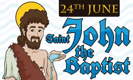 Banner with Saint John the Baptist holding water in his hand and reminder date on a label for his holiday in June 24. 向量圖像
