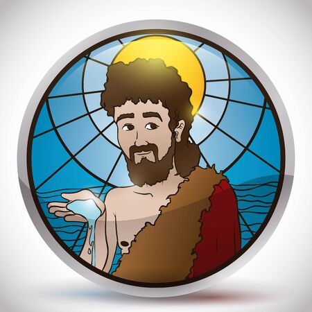 Poster with Saint John the Baptist image holding water over a stained glass, framed in a silver round button.