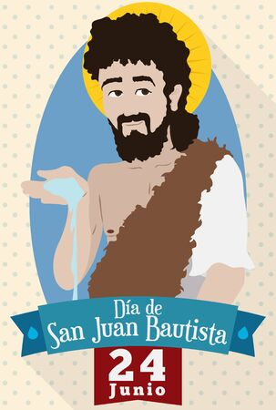 Poster with flat style and long shadow design with Saint John the Baptist image commemorating his nativity in June 24 (written in Spanish).
